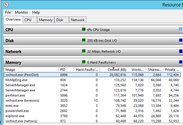 BranchCache using lots of memory, ESENT warning event ID 445