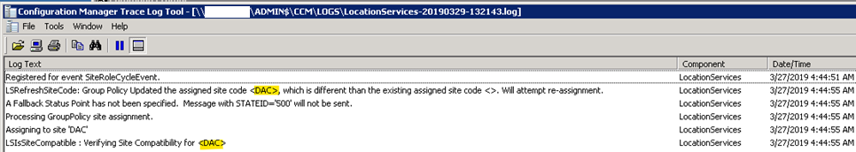 "SCCM – ""Group Policy Updated the assigned site code…"" – System"